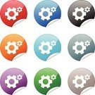 Gear,Symbol,Computer Icon,Religious Icon,Red,Green Color,Single Object,Black Color,Blue,Gray,Orange Color,Illustrations And Vector Art,Purple,web icon,Internet,Shiny,Curled Up,Interface Icons,Concepts And Ideas,Objects/Equipment,Torn,White Background,Curve,Label,Circle