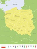 Europe,Map,Cartography,European Union,regions,Land,Capital Cities,Krakow,Wroclaw,Navigational Equipment,Tourist,Pointer Stick,names,Lublin,Flag,Computer Icon,Gdansk,Icon Set,Geographical Locations,Szczecin,Urban Scene,Green Color,City,Vector,Intricacy,Dividing,Yellow,Poland,Poznan,Text,Lodz,Warsaw,Separation,Bydgoszcz