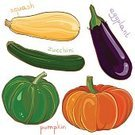 Squash - Vegetable,Marrow Squash,Pattern,Design,Zucchini,Multi Colored,Group of Objects,Eating,Green Color,Agriculture,freehand,Season,Purple,Healthy Lifestyle,Vegetarian Food,Organic,Plant,Nature,Cartoon,Paintings,Healthy Eating,Isolated,Eggplant,Guinea Squash,Pumpkin,Set,Ilustration,Food,Vegetable,Vector,Gourd,Drawing - Art Product,Lifestyles,Ingredient,Painted Image,Ripe,Freshness,Orange Color,Single Object,Yellow