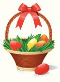 Basket,Easter,Cheerful,Eggs,Wicker,Ilustration,Vector,Gift,Food,Group of Objects,Design,Decoration,Christianity,Straw,Holiday,Symbol,Handle,Bright,Pattern,Description,Blue,Celebration,Religion,Easter,Illustrations And Vector Art,Backgrounds,Green Color,Grass,Isolated,Image,Color Image,Holidays And Celebrations,Vector Backgrounds,Cultures,Yellow,Season,Paint,Large,Springtime