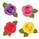 Computer Graphics,Green Color,Pink Color,Purple,Red,White Color,Yellow,Two-dimensional Shape,Flower,Leaf,Rose - Flower,Beauty,Computer Graphic,Abstract,Illustration,Beauty In Nature,No People,Vector,Single Flower,2015