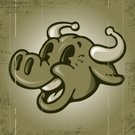 Cow,Retro Revival,Old-fashioned,Cartoon,Vector,Animal Head,Livestock,Dairy Cattle,Grunge,Happiness,Smiling,Grained,Joy,Sepia Toned,Vector Cartoons,Farm Animals,Illustrations And Vector Art,Animals And Pets,Toothy Smile