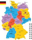 Map,East Germany,Icon Set,Computer Icon,Vector,Text,Navigational Equipment,regions,City,Separation,Isolated,Stuttgart,Berlin,West Germany,Munich,Europe,White Background,Map Of Germany,Direction,Label,Pointer Stick,Germany,Cartography,names,Geographical Locations,Capital Cities,Land,Multi Colored,Color Image,Frankfurt - Main,Frankfurt - Oder,Flag,Dividing,Colors,Intricacy,Hamburg - Germany