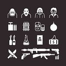 Icon Set,Design,Terrorism,Horror,Symbol,Computer Icon,Shooting,Computer Graphic,Vector,Aggression,Bomb,Dead,Fire - Natural Phenomenon,Rudeness,Silhouette,Set,Currency,Murder,Thief,Gun,Dynamite,Sign,Missile,Toxic Substance,Violence,Exploding,Hand Grenade,Crime,Black Color,Weapon,Isolated,Hood,Murderer,Knife,Natural Gas,Human Skull,Danger,Death,Backgrounds,Grenade Launcher,War