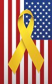 US Memorial Day,US Veteran's Day,Ribbon,American Flag,Armed Forces,Yellow,Flag,Supporting,USA,Red White and Blue Ribbon,Clip Art,Icon Set,yellow ribbon,Fourth of July,Patriotism,Holidays And Celebrations,Illustrations And Vector Art,National Flag,Social Awareness Symbol,troop support