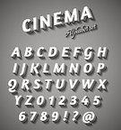 Hollywood - California,Old,Typescript,Collection,Poster,Film,Film Industry,Movie,Old-fashioned,Letter,Text,Retro Revival,Sign,Set,Number,Broadway,Nostalgia,Gray,Ilustration,Art,Classic,Painted Image,Black Color,Alphabet,White,Vector,Design,Characters