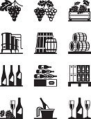Distillery,Winery,Vineyard,Wine,Vine,bunch of grapes,wine collection,Grape,Agriculture,Wineglass,Barrel,Vat,Drink,Bottle,Vector,Old-fashioned,wine cellar,Keg,Wine Bottle,Glass - Material,Winemaking,Set,Ilustration,Champagne,Alcohol,Computer Icon