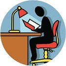 Reading,Education,Symbol,Sitting,Paperwork,Desk,Office Interior,Cubicle,Computer Icon,University,Working Late,Chair,Business,Electric Lamp,Working,Studying,Employment Issues,Men,Clip Art,Business,Actions,Occupation,Business People,Single Object,Vector,Ilustration,Color Image,Illuminated