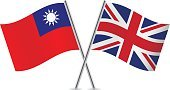 Pole,Banner,Vector,Sign,White Background,Taiwanese Flag,Britain Flag,National Flag,Isolated On White,Curve,Two Objects,Computer Icon,Symbol,UK,Small,Ilustration,Flag,Waving,Taiwan,British Flag