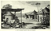 Nostalgia,Nigerian Culture,Image Created 1890-1899,Place of Work,Retro Revival,West Africa,The Past,Hut,Human Settlement,Indigenous Culture,Engraved Image,Woodcut,Ethnic,Ethnicity,History,Blacksmith Shop,Workshop,Obsolete,Manual Worker,Ilustration,19th Century Style,Nigeria,Old-fashioned,Styles,Print,Image Created 19th Century,Victorian Style,Blacksmith,Built Structure,Black And White,Antique,Africa,African Ethnicity,Village