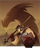 Dragon,Manga Style,Heroes,Warrior,Cartoon,Spear,Macho,Shield,Ilustration,Men,Courage,Characters,Combat Sport,Vector,Monster,Mythology,Design,Digitally Generated Image,Armed Forces,Strength,Illustrations And Vector Art,Concepts And Ideas,Greave,Arts And Entertainment,Concepts