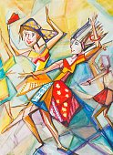 People,Activity,Elegance,Joy,Dress,Vertical,Carnival - Celebration Event,Dancing,Paintings,Drawing - Activity,Adult,Young Adult,Watercolor Painting,Illustration,Females,Women,Photography,2015,