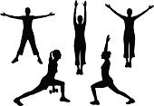 Exercising,Silhouette,Relaxation Exercise,Stretching,Sport,Women,Aerobics,Female,People,Healthy Lifestyle,Weightlifting,Weight Training,Teenage Girls,Strength,One Person,Lifestyles,Teenager,Routine,Teenagers Only,Relaxation,Warming Up,Illustrations And Vector Art,Beauty And Health