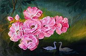 Image,Creativity,Nature,Horizontal,Outdoors,Pink Color,Yellow,Multi Colored,New,Swan,Leaf,Season,Decoration,Backgrounds,Art Product,Abstract,Impressionism,Illustration,No People,Background,2015,flovers