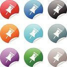 Thumbtack,Symbol,Computer Icon,Curve,Label,Circle,Red,Purple,Gray,Religious Icon,Blue,Green Color,Orange Color,Black Color,Torn,Concepts And Ideas,Interface Icons,Push Button,Objects/Equipment,Internet,web icon,Illustrations And Vector Art,Vector Icons,Shiny,White Background,Single Object,Metallic,Curled Up