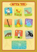 Hebrew Script,Domestic Cat,Goat,Icon Set,Dog,Grandfather,Stick - Plant Part,Knife,Death,Ox,Fire - Natural Phenomenon,Vector,Cartoon,Passover,Flame,Water,Slaughterhouse,Holiday,Judaism,Cultures,Seder,Religion,Religious Celebration