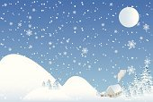 Winter,Snow,Village,Non-Urban Scene,Cabin,Cottage,Blizzard,Snowcapped,Holiday,Night,Snowflake,House,Forest,Landscape,Sky,Vector,Tree,Backgrounds,Hill,Celebration,Ilustration,Valley,Spirituality,Gift,Rural Scene,Blue,Wishing,Computer Graphic,Pine Tree,Splashing,Coniferous Tree,Season,Nature,Light - Natural Phenomenon,Illustrations And Vector Art,Holidays And Celebrations,Winter,Vector Backgrounds,Christmas,Cold - Termperature,Composition