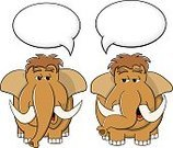 Tusk,Speech Bubble,Prehistoric Era,Animal,Isolated,Ilustration,Vector,Mammoth,Mascot,Caricature,Cute,Mammal,Discussion,Fun,Extinct,Bubble,Brown,Animals In The Wild,Shaggy,Characters,Fur,Animal Trunk,Talking,Balloon,Cartoon,Communication,Humor,Blank,Copy Space,Cloudscape