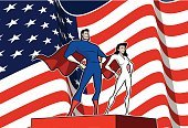 People,Strength,Humor,Love,Independence,Teamwork,Stage Costume,Flag,Costume,The Americas,Muscular Build,Slim,Standing,Smiling,Waving,Heterosexual Couple,USA,Fourth of July,American Culture,Wind,Curve,Ethnicity,Adult,Politics,Stage - Performance Space,Comic Book,Cape,Patriotism,Election,Superhero,Lectern,Illustration,Cartoon,Propaganda,Athlete,Group Of People,Males,Men,Females,Women,Vector,Dressing Up,Government,Heroes,Retro Styled,Republican Party,Manga Style,Couple - Relationship,Husband,Wife,2015,Sportsman,Democracy