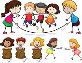 Fun,People,Rope,Activity,Vector,Little Boys,Child,Clip Art,White Background,Series,Collection,Computer Graphic