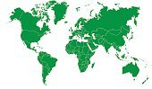 World Map,Map,Cartography,International Border,Country - Geographic Area,countries,Green Color,Vector,Outline,Design Element