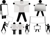 Men,People,Symbol,Sandwich Board,Outline,Banner,Profile View,Sign,advertise,Picket Line,Placard,Silhouette,Billboard,Blank,Advertisement,Couple,Computer Graphic,Reflection,Transparent,Vector,Single Object,Backgrounds,Stick-Figure,Male,Ilustration,Clip Art,Concepts,Empty,Copy Space,Ideas,Business,Isolated,Illustrations And Vector Art,Concepts And Ideas,Business Concepts