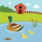 Family,Duck,Livestock,Pond Water,Cartoon,House,Farm Landscape,Lake,Plain,duck pond,Farmhouse,Field,Young Animal,Offspring,Duckling,Mother,Cattail,Cloud - Sky,Fence,Animal,British Sky Broadcasting Ltd ,Natural Pool,Ducking,mother duck,Farm Fence,Grass,Pond,Farm,Following,farm field,Landscape,Vector,Puddle,Nature,Swimming Animal,Sky,pool water,Animated Cartoon,Reflection