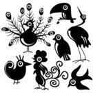 Peacock,Toucan,Bird,Silhouette,Animal,Stork,Rooster,Swallow - Bird,Chicken - Bird,Funky,filigree,Animal Themes,Nature,Design,Fun,Cut Out,Clip Art,Elegance,Ornate,Design Element,Birds,Animals And Pets,Nature