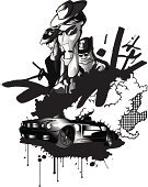 Mafia,Gangster,Car,Graffiti,Gun,Cartoon,Italian Culture,Silhouette,Gang Member,Sign,Criminal,Men,Street,Crime,Organized Crime,Exploding,Grunge,Ink,Bomb,Manager,Spray,Italy,Ilustration,Death,Insignia,Vector,Urban Scene,Rudeness,Organization,Pencil,Splattered,Plant,Hat,Night,Sunglasses,Slim,Aggression,Light - Natural Phenomenon,Driving,Scientific Experiment,Black Color,Vector Cartoons,Painted Image,Digital Composite,People,Drop,Weapon,Illustrations And Vector Art,Actions