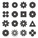 Decor,Black Color,Set,Collection,Simplicity,Pattern,Symbol,Vector,Design,Flower