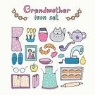 Slipper,Shower Curtain,Dreamlike,Knitting,Collection,Croissant,Rolling Pin,Gramophone,Candy,Book,Spoke,Apron,Senior Adult,Hobbies,Preserves,Family,Cup,Burger,family photo,Vector,Computer Graphic,Women,Mother,Ilustration,Grandmother,Drying