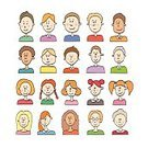 Used,People,Emotion,Symbol,Facial Mask - Beauty Product,Human Body Part,Human Face,Drawing - Activity,Family,Child,Adult,Cute,Caricature,Illustration,Men,Boys,Women,Doodle,Vector,Collection,Facial Expression,2015,userpic