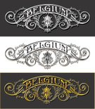 Old-fashioned,Retro Revival,Label,Patriotism,Computer Graphic,Banner,Backgrounds,Symbol,Hipster,Baroque Style,Poster,Shield,Placard,Insignia,Design,Victorian Style,Frame,Tattoo,Ephemera,Europe,Belgium,Gold Colored,Black Color,Belgian Culture,Badge