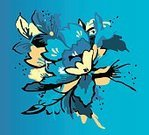 Design Element,Flower,Pattern,Simplicity,Ornate,Vibrant Color,Abstract,Backgrounds,Flower Head,Blue,Vector