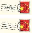 China - East Asia,Postmark,Postage Stamp,Air Mail,Flag,Illustrations And Vector Art,Hole,Travel Locations,Star Shape,Global Communications,Yellow,Red