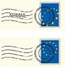 Postage Stamp,Europe,European Union Flag,European Union,Star Shape,Postmark,Air Mail,Flag,Illustrations And Vector Art,Travel Locations,Hole,Blue,Global Communications,Yellow