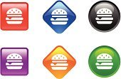 Burger,Symbol,Hamburger,Computer Icon,Religious Icon,Internet,Fast Food Restaurant,Cheeseburger,Food,Icon Set,Red,Shiny,Fast Food,Vector Icons,Single Object,Multi Colored,White Background,Curve,Square Shape,Objects/Equipment,Illustrations And Vector Art,Black Color,Orange Color,Green Color,Blue,Square,Purple,Diamond Shaped,Push Button,Circle,Interface Icons