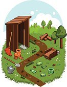 Nature,Glove,Shovel,Recreational Pursuit,Gardening,Brown,Meadow,Grass,Rake,Bucket,Outline,Isometric,Green Color,Outdoors,Tree,Watering Can,Wood Log,Cabin,Vertical