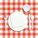 Picnic,Plate,Table,Silverware,Napkin,Place Setting,Checked,Paper Plate,Fork,Plastic,Spoon,Vector,Red,Pattern,Table Knife,Disposable Cup,White,Cup,Directly Above,No People,Ilustration,Copy Space,Backgrounds,Medium Group of Objects,Plastic Utensils,Plastic Spoon,Plastic Knife,plastic fork