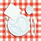 Plate,Summer,Napkin,Place Setting,Plastic,Fork,Pattern,Table,Checked,Spoon,Cup,Table Knife,Red,Vector,Directly Above,White,Computer Graphic,Square,Ilustration