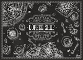 Blackboard,Food,Chalk Drawing,Coffee Shop,Bakery,Label,Design,Coffee - Drink,Frame,Store,Sketch,Banner,Old-fashioned,Fashion,Insignia,Line Art,Heroes,Art,Computer Graphic,Typescript,Ilustration,Latte,White,Placard,Backgrounds,Directly Above,Style,Sign,1940-1980 Retro-Styled Imagery,Vector,topview,Cup,Restaurant,Cafe,Cake