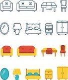 Flat,Group of Objects,Desk,Sofa,Chair,Collection,Material,Furniture,Symbol,Bedroom,Ilustration,Mirror,Chandelier,Infographic,Set,Vase,Bed,Housework,Table,Closet,Domestic Life,Vector,Electric Lamp,Lighting Equipment,Computer Icon