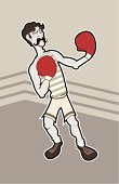 Boxing,Old-fashioned,Men,Slim,Mustache,Boxer Shorts,Combat Sport,Black Eye,Sport,Exercise Mat,Athlete,Human Muscle,Sports And Fitness,People,Individual Sports,Vector Cartoons,Illustrations And Vector Art,Stripe Shirt,Sports Glove,Fighting,Rope,Hair Part