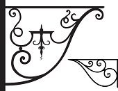 Wrought Iron,Coathanger,Architectural Feature,Iron - Metal,Scroll Shape,Decoration,Metal,Ornate,Vector,Support,Elegance,Architectural Detail,Vector Ornaments,Visual Art,Arts And Entertainment,Black Color,Illustrations And Vector Art,Architecture And Buildings