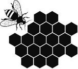 Honeycomb,Black And White,Black Color,Vector,vector illustration,Nature,Stinging Insect,Bee,Honey Bee,Beneficial Insect,flying insect,Honey