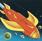 Futuristic,Horizontal,Space Travel Vehicle,Flying,Taking Off,Rocket,Space,Star - Space,Illustration,Pop Art,2015
