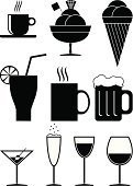 Coffee Cup,Wineglass,Beer - Alcohol,Tea Cup,Coffee - Drink,Ice Cream,Glass,Tea - Hot Drink,Vector,Carton,Ilustration,Drink,Icon Set,Orange - Fruit,Drink Icons,Vector Icons,Alcohol,Food And Drink,Illustrations And Vector Art