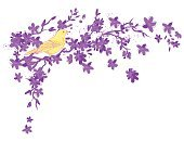 Scribble,Cherry Blossom,Flower,Single Flower,Multi Colored,Rough,Yellow,Vector,Nature,Tree,Blossom,Perching,Songbird,Ilustration,Bird,Drawing - Art Product,Branch,Incomplete,hand drawn,Purple