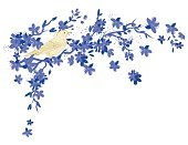 Scribble,Cherry Blossom,Flower,Single Flower,Multi Colored,Rough,Yellow,Vector,Nature,Tree,Blossom,Perching,Songbird,Ilustration,Bird,Drawing - Art Product,Branch,Incomplete,hand drawn,Blue