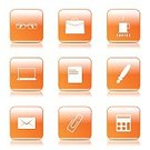 Digitally Generated Image,Vector,Sign,Ilustration,App Icon,Laptop,Coffee - Drink,Ring Binder,Computer Graphic,Shape,Paper Pin,E-Mail,Notebook,Collection,Icon Set,web icon,Internet,Pen,Calculator,Design,Glossy Button,Interface Icons,Isolated,Phone Icon,File,Eyeglasses,Orange Color,Set,Bizarre,Note Pad,vector icon,Icon Design,Computer Icon,Symbol,Tea - Hot Drink